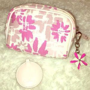 COLE HAAN floral/leather make-up case & keychain